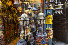 Masks, dolls and souvenirs in street shop at Durbar Square in Ka Stock Images