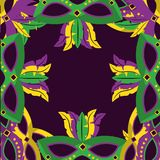 Masks with feathers mardi gras decoration border template design stock photography