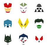 Masks into flat style vector graphics art Stock Images