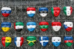 Masks in the form national flags of countries. All over the world Stock Images