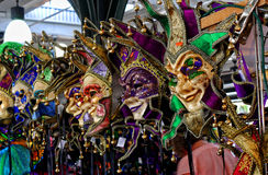 Masks in the French market in New Orleans a Louisiana city on the Mississippi River, near the Gulf of Mexico. Masks for Carnival Mardi Gras in February in New
