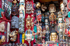 Masks and handicrafts on sale in Bhaktapur, Nepal Royalty Free Stock Photography