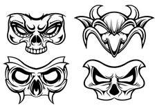 Masks of horror. Black white four various mask of horror vector stock illustration