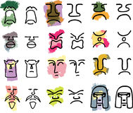 Masks I. Twelve hand-drawn tribal mask icons with various emotions in color or black only Stock Photos