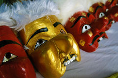 The masks for Manorah Performance. Manorah  is a folk Performance in Southern Thailand .This Masks  for  Ram Ooak Pran In the company that performs a Nora, the Royalty Free Stock Images