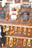 Masks. Old traditional masks displayed at the market place in Bran, Brasov, Romania stock photos