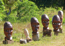 Masks and other works of the Mozambican masters sold near the vi Stock Photography