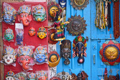 Masks, pottery,souvenirs, hanging in front of the shop on swayam Royalty Free Stock Image