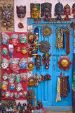 Masks, pottery,souvenirs, hanging in front of the shop on swayam Stock Photo