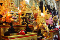 Masks of Ramayana. Ritual worship of artist in Thailand Stock Images