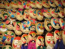 Masks for sale in Hanoi Vietnam. Scary masks outside a shop in Hanoi Vietnam royalty free stock photography