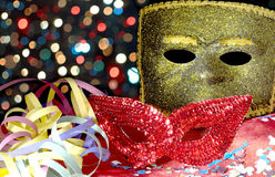 Masks, serpentine and confetti Stock Photography