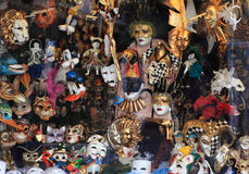 Masks shop window in Venice. Venice, Italy - February 25th, 2011: Image of the masks shop window full with various types of masks in Venice. The image is through Royalty Free Stock Images