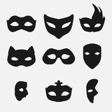 Masks silhouette in black  Stock Images