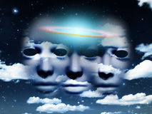 Masks in the sky. Three masks in cloudy sky. Galactic disk Royalty Free Stock Images