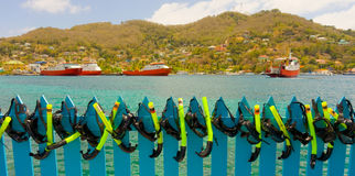Masks and snorkels drying in the sun Royalty Free Stock Photos