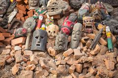 Masks, souvenirs in street at Durbar Square, Dec 2, 2013 in Kathmandu, Nepal. Royalty Free Stock Photos