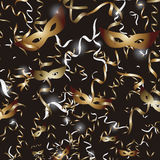 Masks and streamers black square Royalty Free Stock Image