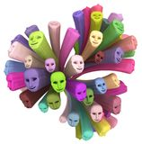 Masks Stretch Color. Mask heads group sculpture stretching surreal many colors, 3d illustration, horizontal, isolated, over white Stock Photo