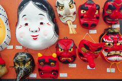 Masks of Tengus and Japanese demons. Various masksof Tengu and other creatures from Japanese folklore in Nakamise dori, Asakusa, Tokyo, Japan Royalty Free Stock Image