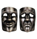 Masks of tragedy and comedy. Vintage gravure style effect Royalty Free Stock Photos