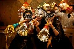Masks and trumpet Stock Photos
