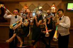 Masks and trumpet Royalty Free Stock Images
