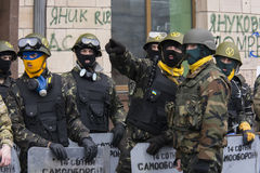 Masks. Ukraine Kiev during the revolution. People have organized themselves for self-defense Royalty Free Stock Image
