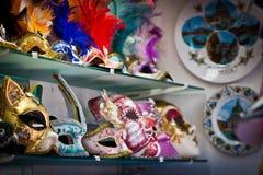 Masks in Venice. Venetian masks on the shelf Stock Photography