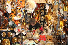 Masks of Venice. Masks for Carnivale in Venice. Walking the alleys of Venice. Happy, sad, scary and animal faces in alleys. Artist at work stock images