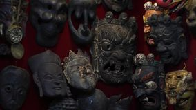 Masks on the wall stock video
