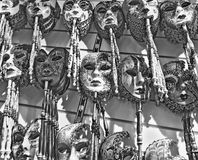 Masks. Were worn in Venice to disguise the wearer from illicit activities: gambling, dancing, clandestine affairs or even political assignation. Old-style Stock Photo