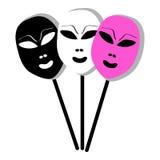 Masks on white background Stock Photo