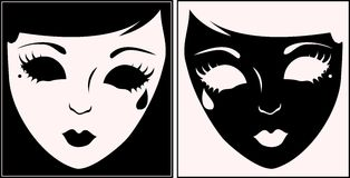 Masks white and black. Royalty Free Stock Photos