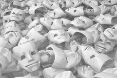 Masks White Content. White masks many smiling content, 3d illustration, horizontal background Royalty Free Stock Photo
