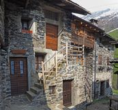 Maslana is an ancient rural village accessible only on foot. Valbondione, Bergamo, Orobie Alps, Italy. Maslana is an ancient rural and old village accessible Stock Images