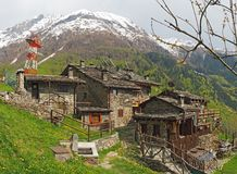 Maslana is an ancient rural village accessible only on foot. Valbondione, Bergamo, Orobie Alps, Italy. Maslana is an ancient rural and old village accessible Royalty Free Stock Photography