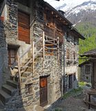 Maslana is an ancient rural village accessible only on foot. Valbondione, Bergamo, Orobie Alps, Italy. Maslana is an ancient rural and old village accessible royalty free stock image