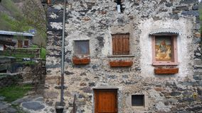 Maslana is an ancient rural village accessible only on foot. Valbondione, Bergamo, Orobie Alps, Italy. Maslana is an ancient rural and old village accessible Royalty Free Stock Photo
