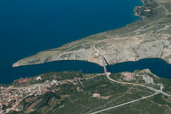 Maslenica bridge. Aerial view of Adriatic coast near Zadar with roads, town and Maslenica bridge Stock Images