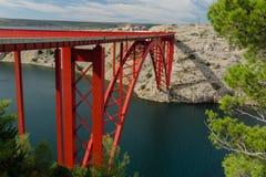 Maslenica czerwieni most nad morzem, Maslenica, Chorwacja Fotografia Stock