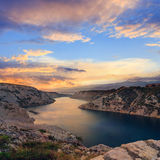 Maslenica Strait and beautiful sunset, Royalty Free Stock Images