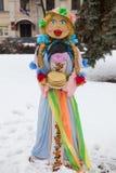 Maslenitsa的大玩偶 库存照片