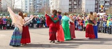 Maslenitsa,一个传统春天假日在俄罗斯 库存照片