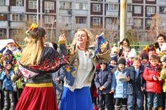 Maslenitsa,一个传统春天假日在俄罗斯 免版税库存照片