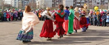 Maslenitsa,一个传统春天假日在俄罗斯 库存图片