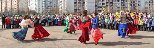 Maslenitsa,一个传统春天假日在俄罗斯 免版税图库摄影