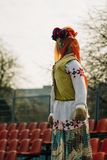 Maslenitsa - a doll for the burning. Maslenitsa - a big doll made of rags and other clothing, to celebrate the spring festival farewell to winter. Shrovetide stock images