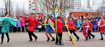 Maslenitsa, des vacances traditionnelles de ressort en Russie Photos stock