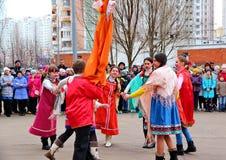 Maslenitsa, des vacances traditionnelles de ressort en Russie Photo libre de droits